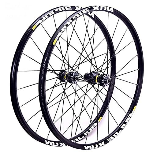 MZPWJD Ciclismo Ruedas MTB Ruedas Bicicleta Juego Ruedas Bicicleta 26'/27.5' / 29' Llanta Aleación Doble Pared Hub Carbono Casete Freno Disco QR 8-11 Velocidad (Color : Black hub, Size : 26')