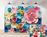 Daniu Colorful Flowers Paper Mother's Day Photography Background Lovely Style Champagne Blue Pink Blossoming Flower Backdrops Portraits Shooting Video Studio Props