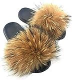 Valpeak Fur Slides Slippers for Women Furry Fluffy House Slippers Open Toe Girls Fur Sandals Outdoor(Natural, 9.5)