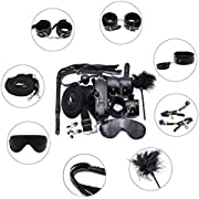 Restraints 10 Pcs BDSMS Bed Restraints Kits Sex Bondage Sets Toys Sex Things for Couples with Hand Cuffs Ankle Cuff Collar Leash Ball Gag Solid Leather Cross Strap Feather