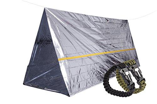 STEPS Refugio de Supervivencia de Emergencia Mylar Tienda, Incluye 2-Pack Pulsera Supervivencia, Equipo Esencial de Supervivencia para Go-Bags, Camping, Exploración