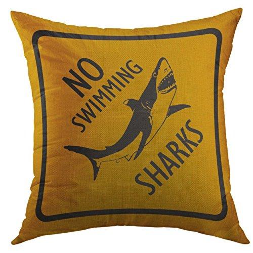 Funda de almohada decorativa para sofá, cama, decoración del hogar, cojín de tiburones, no advierte la natación, funda de almohada divertida: 45,7 x 45,7 cm