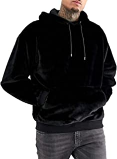 iWoo Men's Warm Fleece Hoodie Fluffy Pullover Viscose Sweater Sweatshirt with Two Pockets