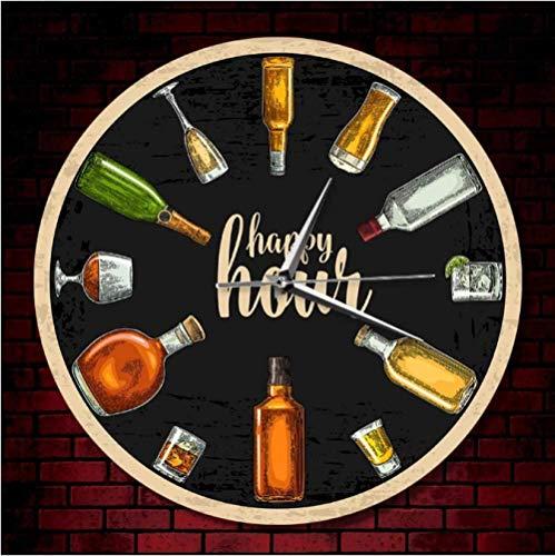 youmengying Co.,ltd Relojes De Pared Happy Hour Beer Time Reloj De Pared con Estampado De Vino Hombre Cueva Pub Bar Tienda De Vinos Decoración De Pared Bebedor Alcohol Regalo Bodega Arte 30X30Cm