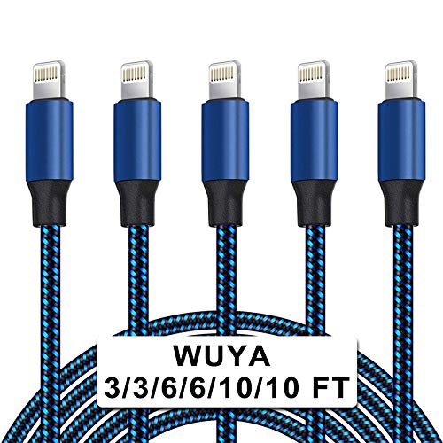 WUYA iPhone Charger, MFi Certified Lightning Cable 5 Pack (3/3/6/6/10FT) Nylon Woven with Metal Connector Compatible iPhone Xs Max/X/8/7/Plus/6S/6/SE/5S iPad - Black&Blue