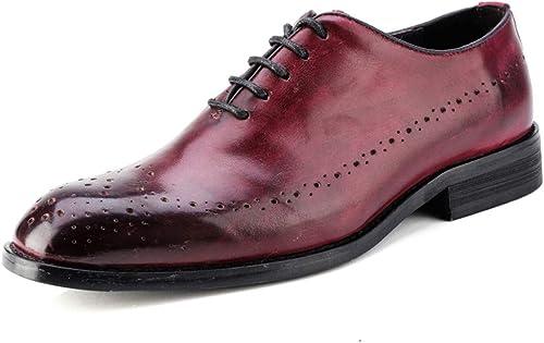 2019 Richelieus Homme, Hommes gris Chaussures Chaussures à Lacets Mode Homme Oxford Décontracté Style Britannique Classique Rétro Brosse Couleur Brogue Chaussures (Couleur   Wine rouge, Taille   47 EU)  au prix le plus bas