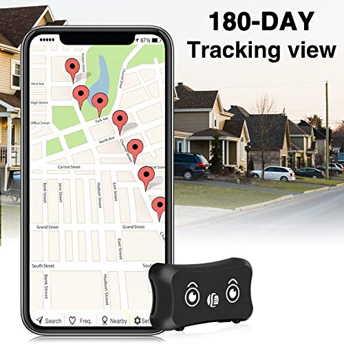ENGERWALL 2020 New Upgraded Mini Dog GPS Tracker, Lifetime Free Multipurpose Real-time GPS Tracker with 800 mAh Battery & Pet Collar & IP67 Waterproof Tracking Device for Pets, Child, Luggage, etc