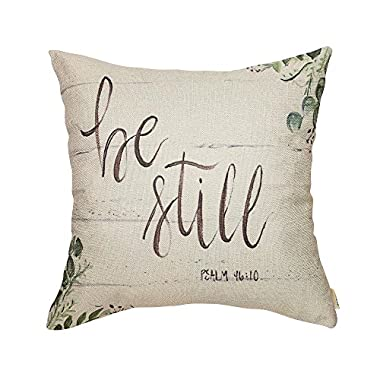 Fjfz Be Still Greenery Floral Retro Country Style Farmhouse Quote Gift Cotton Linen Home Decorative Throw Pillow Case Cushion Cover with Words for Sofa Couch, 18  x 18