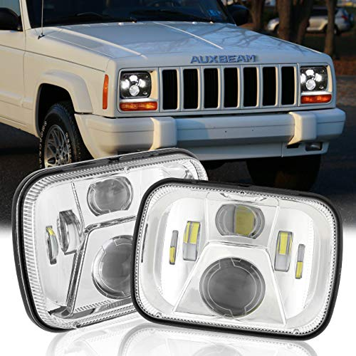 Auxbeam 5x7 7x6 Inch Led Headlights with High Low Beam H6054 6054 Led Rectangular Headlight Compatible for Jeep Wrangler YJ Cherokee XJ GMC Replacement H5054 H6054LL 69822 6052 6053 (Silver)