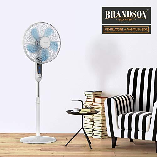Brandson - Ventilatore a piantana con Telecomando e Display – 45,5 cm di Diametro - 60 Watt - Altezza dfino a 134 cm – Timer spegnimento - inclinazione 35 Gradi – Oscillante - 3 velocità – Bianco