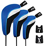 Andux Funda de Palo de Golf para Drivers Maderas con Intercambiable No. Etiqueta Set de 3 MT/mg02 Negro/Azul