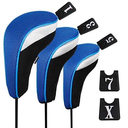 Andux Set Golf 460cc Holzkopfabdeckungen für Golfschläger mit langem Hals und austauschbarer Nummer, 3 Stück Anhänger, 3Stück., MT/mg02, schwarz / blau