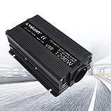 Yinleader inversor de Corriente 600W / 1200W DC 12V a AC 230V Inversor de Corriente para automóvil, con Enchufe de la UE y 2 Conexiones USB