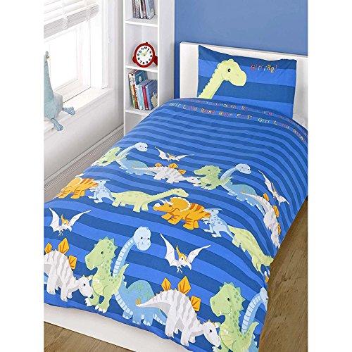 Kinder Bettwäsche aus Baumwollmischgewebe, bedruckt, für Jungen und Mädchen, Baumwollmischung, Dinosaurier - Blau (Gelb / Limonengrün / Grün), Bezug Einzelbett (Kinderzimmer)