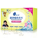 FKZL (1 caja = 60 hojas) Detergente para ropa de viaje, detergente en polvo en una hoja, hoja de detergente para ropa