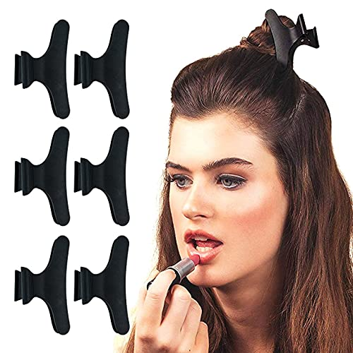 Kitsch Pro Butterfly Hair Clamps, Professional Strength, Salon Hair Clips for Styling, Sectioning, Cutting and Coloring, 6 Count (Black)