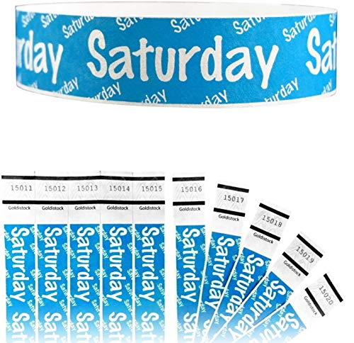 """Heavier Tyvek Wristbands 7.5 Mil - Goldistock Saturday 500 Count (Neon Blue) - Days of The Week ¾"""" Arm Bands- Paper-Like Party Armbands - Heavier Tyvek Wrist Bands = Superior Events"""