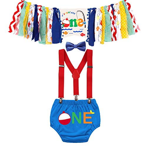 FMYFWY Baby O-Fish-Ally One First Birthday Cake Smash Outfits Decorations Kit Highchair Banner Bloomers Suspender Bow Tie