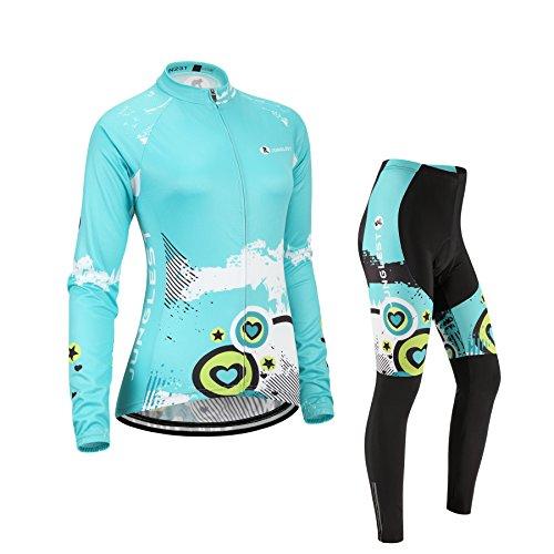 (Cuscino 3D)(Tipo:Set taglie:M) antivento lunga traspirante Per Ciclismo donna traspirazione Moda prestazioni Jerseys gilet manica Maglia