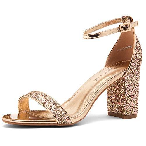 Shoe Land Madeline Womens Open Toe Ankle Strap Chunky Block High Heel Dress Party Pump Sandals RoseGoldGlitter 10.0