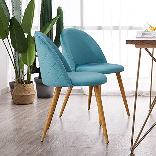 TUKAILAI Stühle Esszimmerstuhl Blau - Stuhl Esszimmerstühle Homewares Stuhl fü0r Küche, Büro, Lounge, Retro Konferenzzimmer, Polsterstuhl Esstisch Stühle Polstersessel, 2 Set