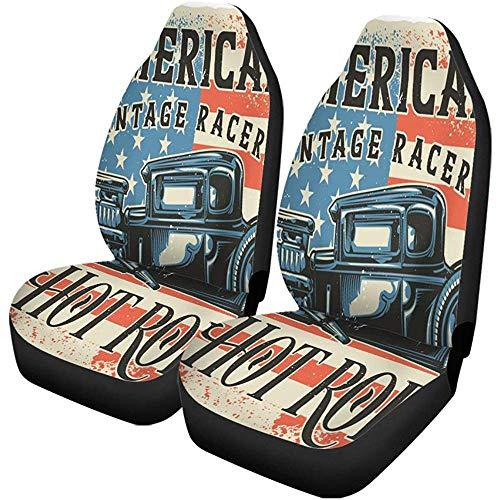 Autostoelhoezen American Of Hot Rod Raster kopie antiek auto auto auto set van 2 auto accessoires beschermers car decor fit voor auto vrachtwagens