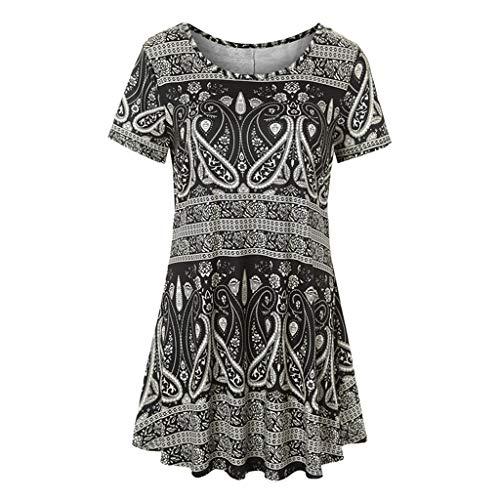 TWIFER Sommer Damen Vintage Kurzarm Blumendruck T-Shirt Beiläufige Lose Bluse Tops Tee
