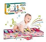 N\C Estera de piano para niños de música de piano mat juego de armonio manta de música 8 tipos de animales e instrumentos musicales efectos de sonido grabables Juguetes de música juguetes educativos