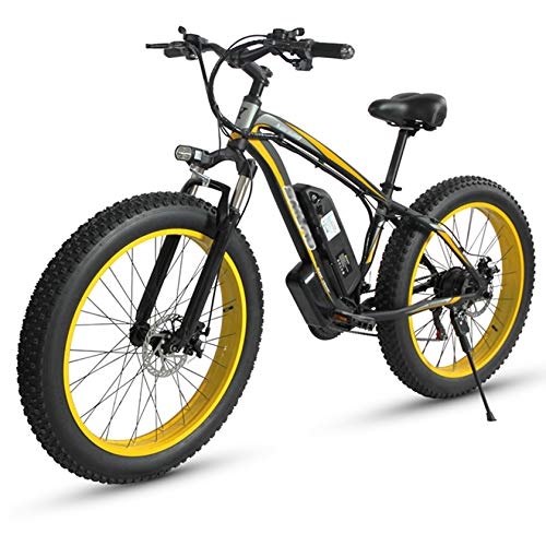 PHASFBJ Fat Tire Electric Bike, 1000W Powerful Electric Bicycle Beach Snow Bicycle 26 inch Fat Tire Ebike Electric Mountain Bicycle 15AH Lithium Battery 21 Speed for Adult,Yellow,Oil brake
