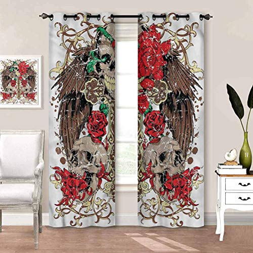 painting-home Grommet Window Curtain Tattoo, Mexican Sugar Skull Design Noise-Canceling Curtains Creates A Nice Atmosphere W72 x L84 Inch