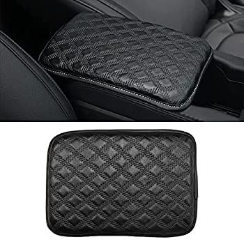 BLAU GRUN Leather Center Console Cushion Pad 11.8 x8.2  Universal Armrest Cover for Cars Vehicles Trucks SUVs Waterproof Center Censole Protector Car Interior Accessories  Black