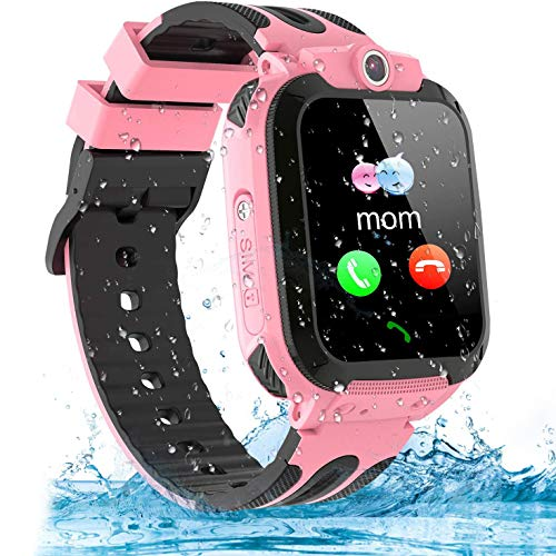 Themoemoe Kids Smartwatch Phone, Kids GPS Watch Waterproof SOS Camera Game Compatible with 2G T-Mobile Birthday Gift for Kids(S12B-Pink)