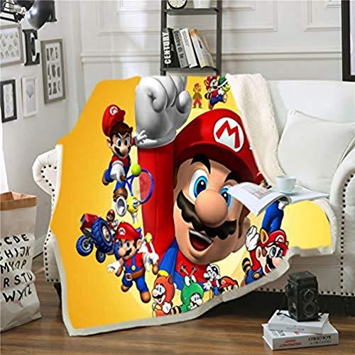 WTTING Super Mario - 3D Digital Printed Flannel Blanket for Sofa Bed Living Room Bedroom Blanket (G, 100 x 140 cm)