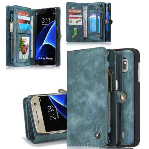 Flip Hülle Handy-Hülle passend für Samsung Galaxy S7 Edge - Wallet Book Spalt-Leder - Handy-Tasche Schutz-Hülle, Farbe:Türkis
