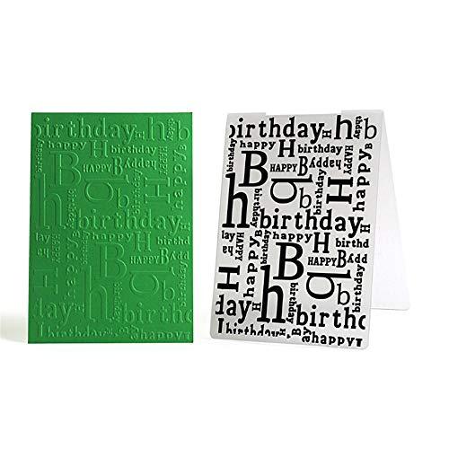 Carpetas de plástico en relieve de feliz cumpleaños para hacer tarjetas, decoración de plantillas de álbumes de recortes