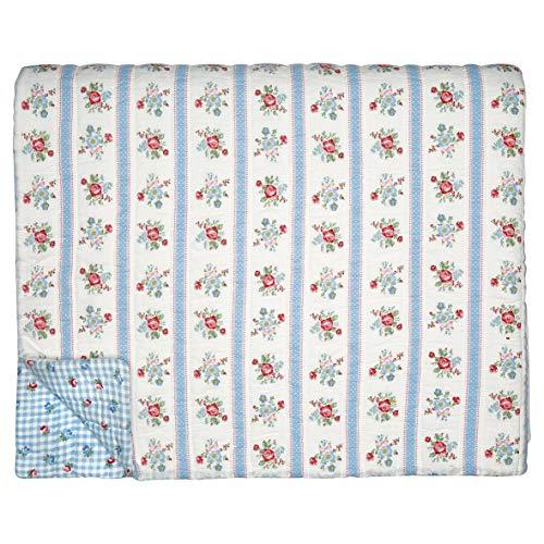 GreenGate Quilt Evie Weiß Blau 140x220 Tagesdecke Baumwolle Decke Überwurf
