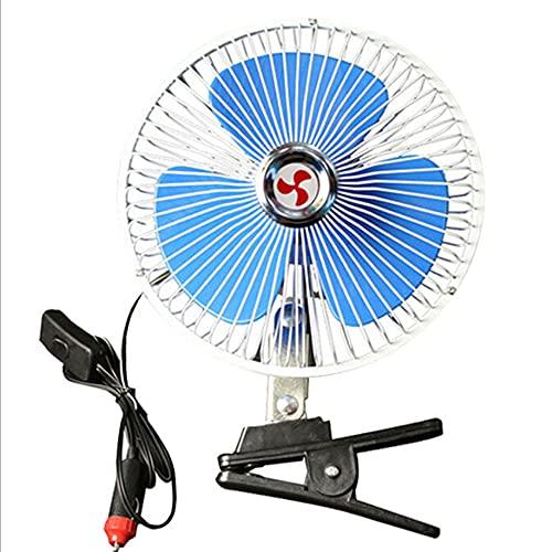 Goolsky Ventilador de Coche 12 V,8inch Ventilador Clip para Vehículo Automóvil Refrigeración Giratorio 180 ° Ventilador Eléctrico Ventilación Silenciosa con Interruptor Enchufe Encendedor Cigarrillos