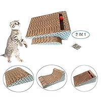ペットベット ペットソファ ソフト マットペット用品 キャットニップ、2とペットの猫のスクラッチボード1段ボールスクラッチラウンジ満たす猫の自然なスクラッチのニーズの 犬用ベッド・クッション
