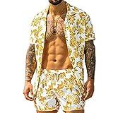 Pantalones de camisa hawaiana para hombre, 2 piezas, conjunto de verano de manga corta, estampado floral con botones y botones, amarillo, M