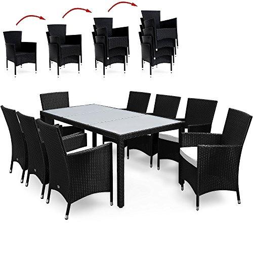 Deuba Rattan - Juego de muebles de jardín (8 sillas apilables y mesa), diseño rectangular, color negro