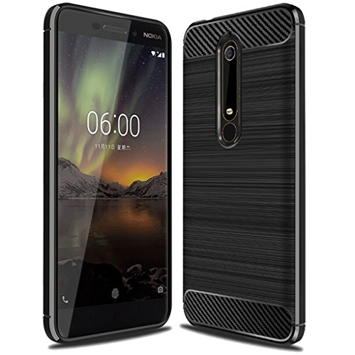 Nokia 6 2018 Case, (Not for 'Nokia 6'), Sucnakp TPU Shock Absorption Technology Raised Bezels Protective Case Cover for Nokia 6 2018 smartphone (Black)