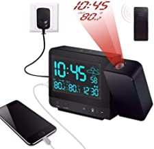Kensent Projection Alarm Clock, Digital Projection Clock with Weather Station, Indoor/Outdoor Thermometer, USB Charger, Dual Alarm Clocks for Bedrooms, LED Display with Dimmer, 12/24 Hours
