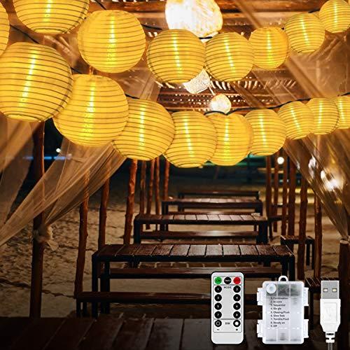 Molbory 20er LED Lampion Lichterkette Außen, LED Laternen Lichter mit 8 Modi & Timer, Laterne Beleuchtung Aussen, Lichterketten Lampion Wasserdicht für Garten,Balkon,Hof,Hochzeit,Fest Deko (Warmweiß)