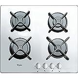 Whirlpool AKT 6400/WH Blanco Integrado Encimera de gas - Placa (Blanco, Integrado, Encimera de gas, Vidrio, Giratorio, Parte superior delantera)