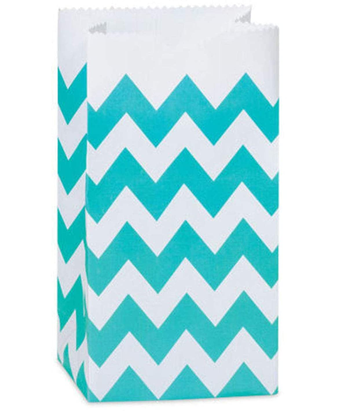 Turquoise Blue Chevron Gift Favor Bags - 25 Bags