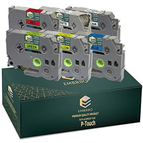 EMBRIIO TZe-231 TZe-131 431 531 631 731 | 6x Casetes de Cinta Reemplazo para Brother P-Touch PT-H110 E100 P700 H105 H101C PT-1000 D600VP H100 | Transparente/Blanco/Rojo/Azul/Amarillo/Verde | 12mm x 8m