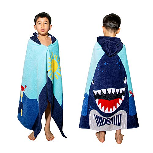 """VNICGFOMGT Kids Hooded Bath Towel for Toddler Boys Girls Cotton Kids Beach Towel with Hood, Oversize Soft Absorbent Bath Wrap Towels Swim Changing Robe,30""""x50"""" Blue Shark…"""