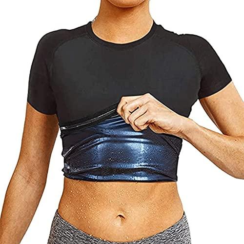Hombres Mujeres Sauna Chaleco De Sudor Camiseta Pérdida De Peso Gimnasio Entrenamiento De Manga Corta Transpirable Traje De Sauna De Secado Rápido Con Chaleco De Sudor ( Color : Women , Size : XL )
