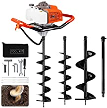 ECO LLC 63cc 3.4HP Gas Powered Post Hole Digger with Two Earth Auger Drill Bit 6