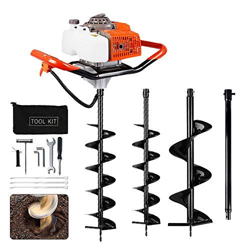 """ECO LLC 63cc 3.4HP Gas Powered Auger Post Hole Digger with Two Earth Auger Drill Bit 6"""" & 10"""" + Extention for Any Earth Ice Digging/drilling Operation"""